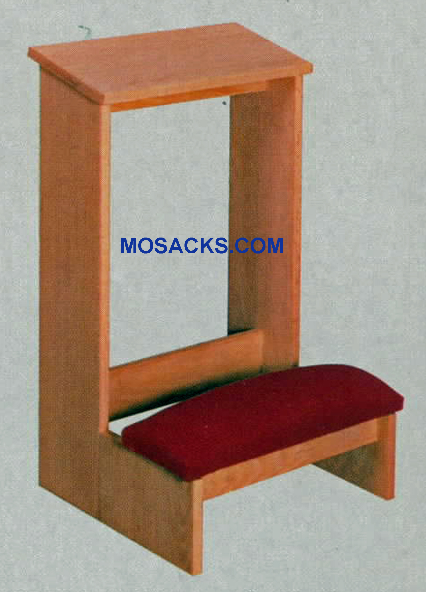"Unfinished W Brand Prie Dieu Kneeler with upholstered kneeler & a shelf 19"" w x 19""d x 30"" h #2304. This Prie Dieu Kneeler is unfinished with a slanted shelf for arm comfort and upholstered kneeler."