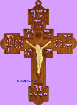 "Wood Stained 6"" Stations of the Cross Crucifix 185-1741WS"