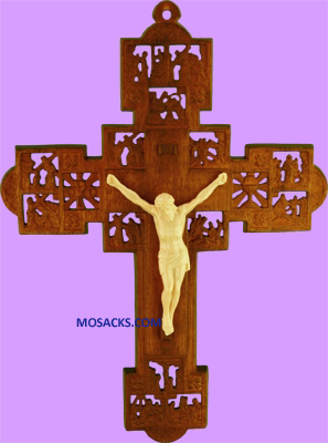 "Wood Stained 9"" Stations of the Cross Crucifix 185-1718WS"
