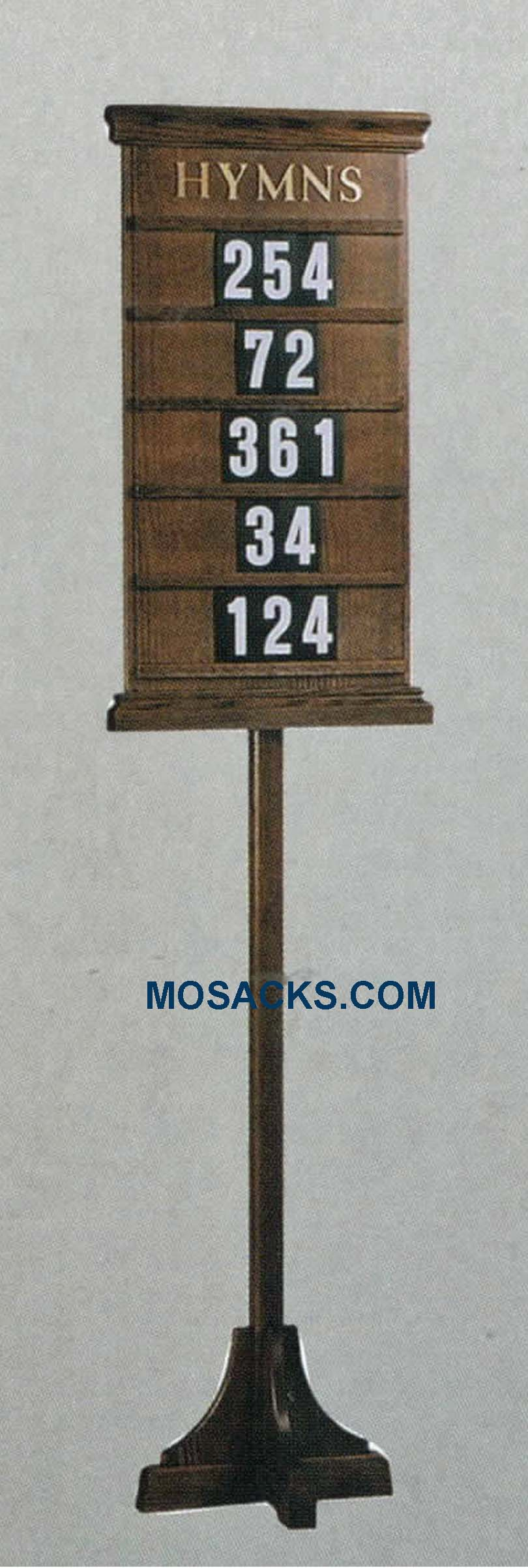 "Wooden Hymn Board with Stand 19"" w x 77"" h #234 Floor Standing Hymn Board"