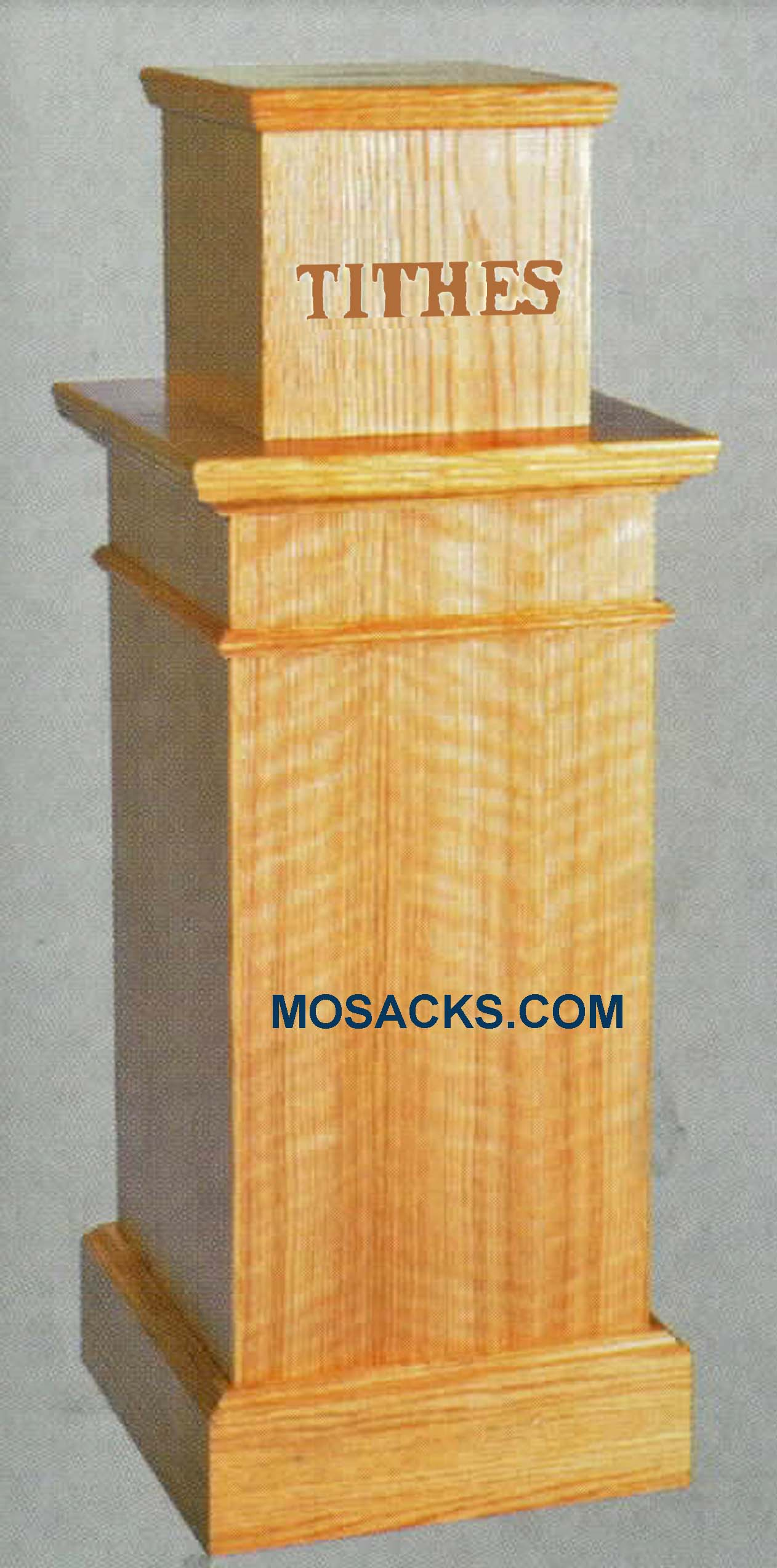 "Wooden TITHES  Box with Lettering, without light 16"" w x 16"" x d x 42"" h 1161 various wood stains available  lock, door and bag,  TITHES on the front, 1161"