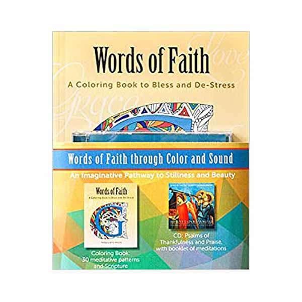 Words of Faith: A Coloring Book to Bless and De-Stress from Paraclete Press, ISBN 9781612617862 Adult Coloring Books