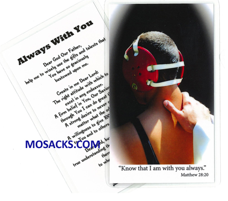 Wrestling Sports Laminated Holy Card 477-WRESTLING PRAYER CARD